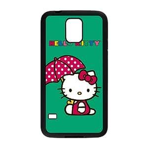 Samsung Galaxy S5 Cell Phone Case Black Hello Kitty Polka Dot Umbrella FXS_575813