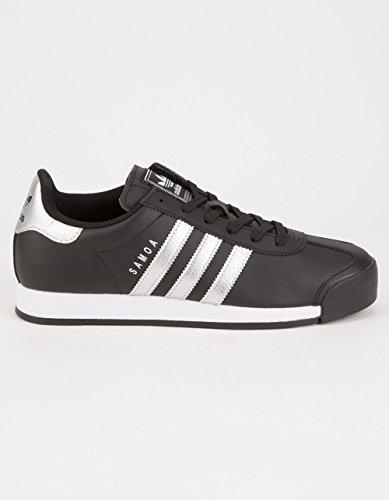 adidas Originals Women's Samoa W Fashion Sneaker, Black/Metallic Silver/White, 8