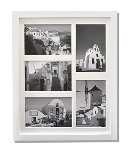 4 X 6 Photo Collage (Golden State Art, 11x14 Collage Picture Wood Frame with REAL GLASS and White Mat for 5 4x6 Picture, White)