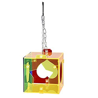Parrot Foraging Toys Hanging Bird Cage Treat Feeder Puzzle Food Box for Small Birds Pigeon Parakeet Conure Macaw Cockatiel from S-line