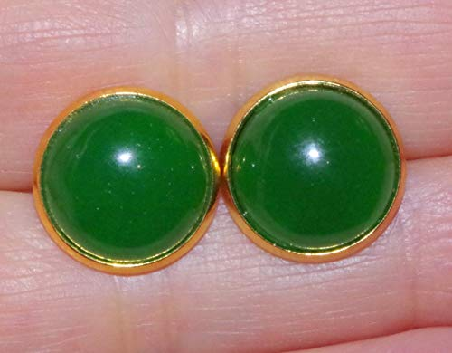 CHINESE GREEN JADE ROUND DOME 14MM VINTAGE GENUINE 14K GF STUD EARRINGS