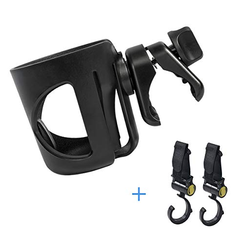 Black Universal Cup Holder, Baby Stroller Cup Holder, 360 Degree Adjustable Rotating Cup Drink Holder for Baby Strollers, Bicycles, Strollers, Wheelchairs, Motorcycle(Come with 2 Pram Hooks ) (Large)