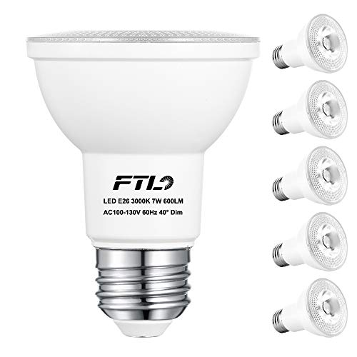 PAR20 LED Bulbs, Dimmable 7W Spot Light Bulbs,50W Halogen Bulb Equivalent, 3000K Warm White 600 Lumens E26 40 Degree, Indoor Recessed Track Lighting, 6-Pack