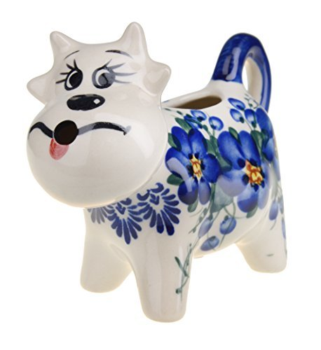 Classic Boleslawiec, Polish Pottery Hand Painted Ceramic Milk, Cream Cow Shaped Jug (Hand Painted Jug)