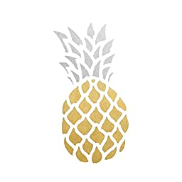 Pineapple set of 25 assorted premium waterproof metallic gold & silver tropical temporary jewelry foil Flash Tattoos