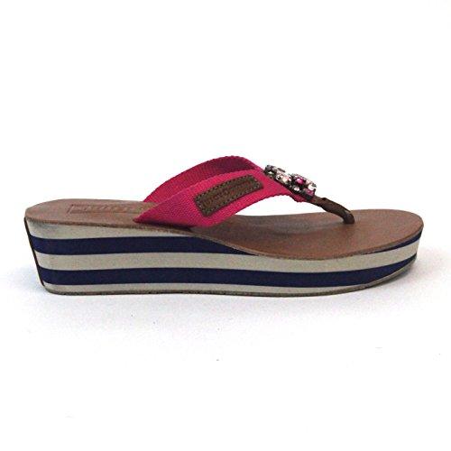 Juicy Couture dos tonos TOE-POST Piel Talla 3,5 Marrón - Pink-Brown