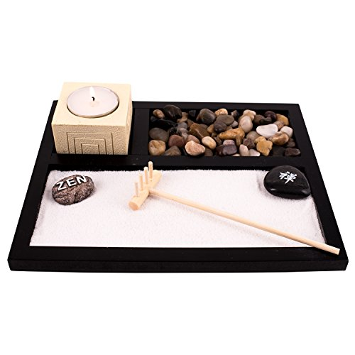 Deluxe Wooden Zen Sand Garden with Candle Holder, Candle, Rocks Sand and Rake (Model# RG-004)