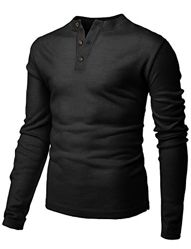 H2H Mens Casual Slim Fit Henley Sweaters Long Sleeve of Various Styles Black US L/Asia XL (KMTTL491)