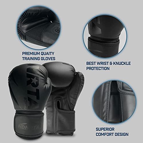 NDNRTA Noir Series Boxing Gloves, Boxing Training Gloves, Sparring Gloves, Heavy Bag Gloves, Kickboxing Gloves, Bag…