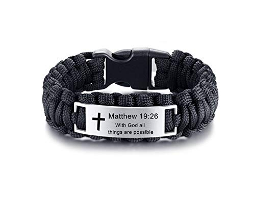 LF Mens Stainless Steel Matthew 19 26 Bible Verse Outdoor Black Rope Paracord Survival Bracelet,Christ Cross Bible Quote Scripture Cuff Bracelets for Adult Outdoor Hiking Camping Hunting Activities -