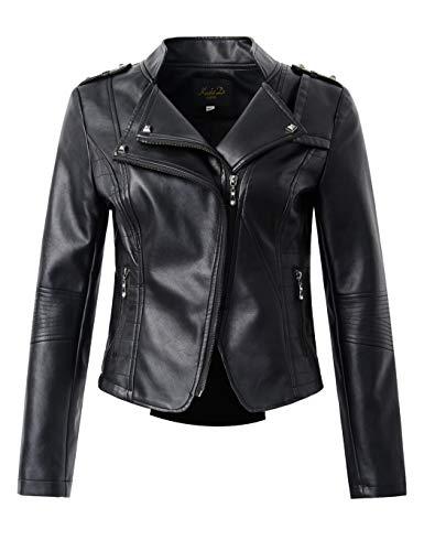 (Sungtin Women's Faux Leather Motorcycle Biker Jacket Slim Short Coat (US Size M/10 = Chinese Size 2XL, Black3))