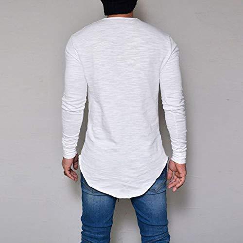 Unita Maglia Collo Lunga Slim Cikuso Elasticizzata Formale Moda M Top Uomo Plus Manica Size Basic A Pullover T O Casual Tee Tinta Bianco Fit shirt q0XtTX4