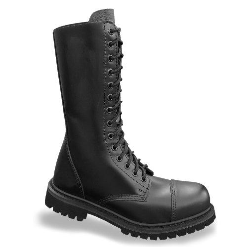 Mil Loch Invader Schuhe 14 Ranger Stahlkappe Boots Leder Black Stiefel Schwarz Tec wFxgr4fw