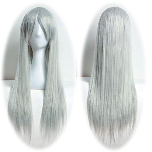 DEESEE(TM) 80cm Full Wig Long Straight Wig Cosplay Party Costume Hair Cosplay wig (Gray) (Costumes With Purple Hair)