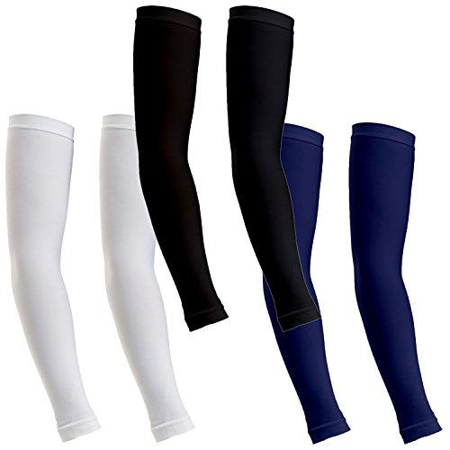 ReLive Women's Microfiber Stretchy Arm Sleeves (3 Pairs) White, Black & Navy (Nursing Sleeve Scrubs)