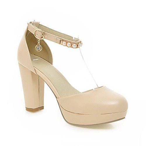 AmoonyFashion Womens High Heels Soft Material Solid Buckle Round Closed Toe Pumps Shoes Beige UgzcHdY