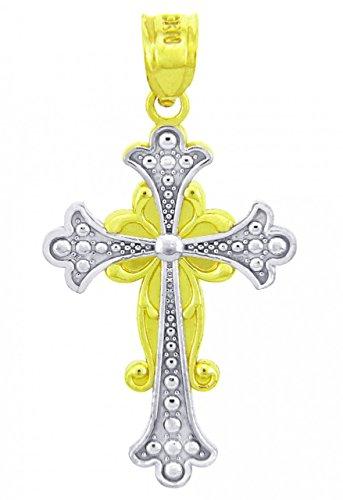 10 ct 471/1000 Or Avec Deux Tons Majestueux Croix Pendentif Collier (Livre Avec un 45 cm Chaine)