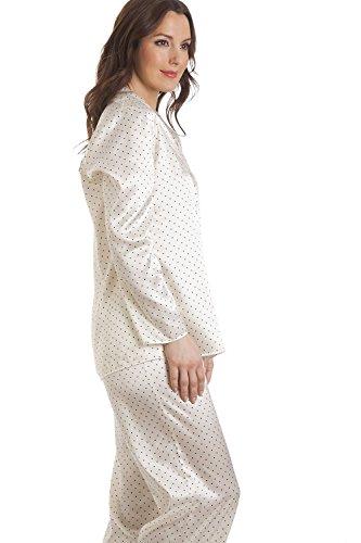 Conjunto de pijama largo - Satén - Color crema con lunares BLANCO