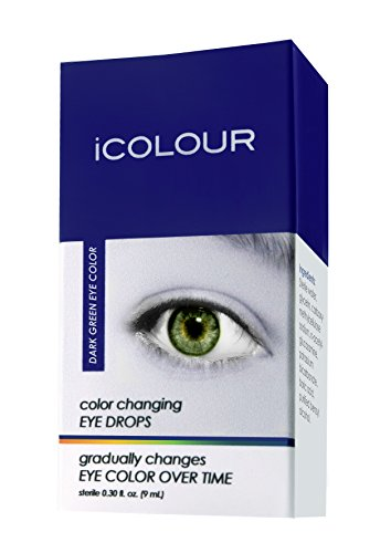 iCOLOUR Color Changing Eye Drops - Change Your Eye Color Naturally - 1 Month Supply - 9 mL (Dark Green) (Monster Contact Lenses For Eyes)