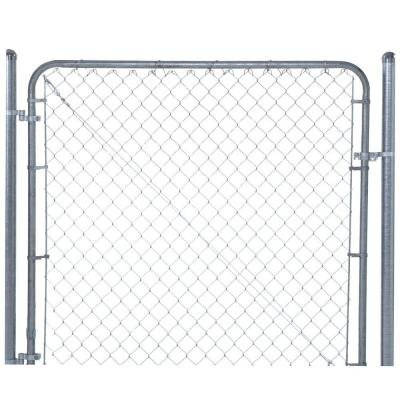 6 ft. W x 5 ft. H Galvanized Metal Adjustable Single Walk Fence Gate