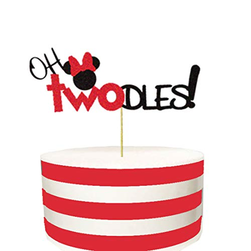 Oh Twodles Birthday (Oh Twodles Minnie Mouse Cake Topper,Second 2nd Birthday Party Supplies Decorations for Baby)