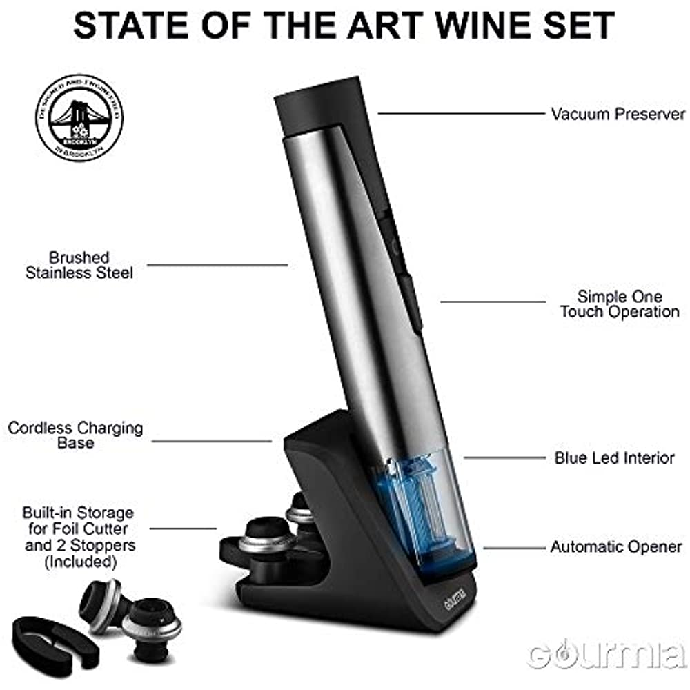 2 Bottle Openers In 1 Wine And Preserver Set-Electric Corkscrew Rechargeable
