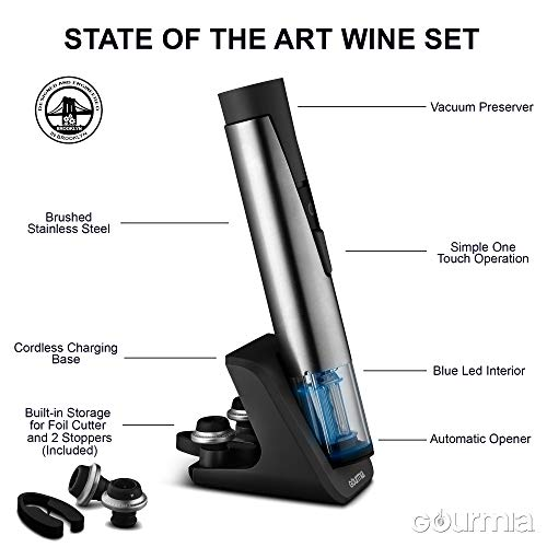Gourmia 2 in 1 Wine Opener and Preserver set–Electric Corkscrew Rechargeable Wine Bottle Opener and Sealer–Removes Corks,Vacuum Seals and Preserves Wine–Includes Foil Cutter,2 Stoppers,Recharging Base by Gourmia (Image #2)