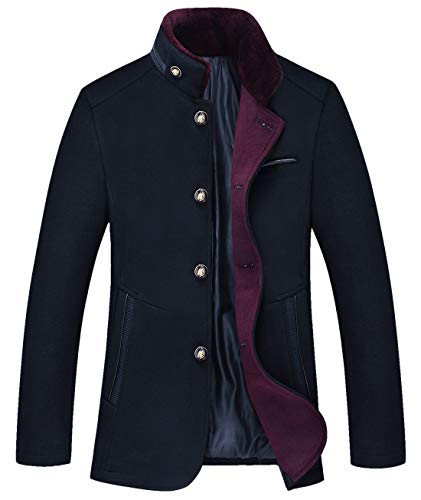 Chouyatou Men's Gentle Band Collar Single Breasted Wool Blend Pea Coat (10Dark Blue, Medium) by Chouyatou