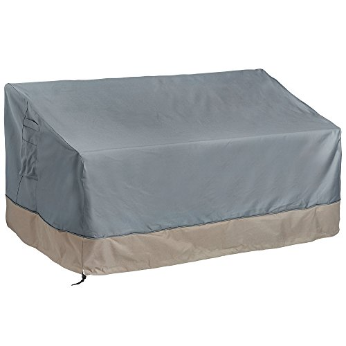 VonHaus 3 Seater Patio Bench Loveseat Cover - 'The Storm Collection' Premium Heavy Duty Waterproof Outdoor Furniture Protection - Slate Gray with Beige Trim - L60 x W35 x H22-30 inches (Covers Bench Outdoor Seat)