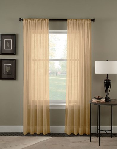 Curtainworks Trinity Crinkle Voile Sheer Curtain Panel, 51 by 63