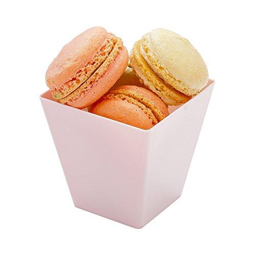 Dessert Tumbler, Dessert Cup, Square Plastic Cup - Powder Pink - 8 oz - Disposable - 100ct Box - Kova - Restaurantware