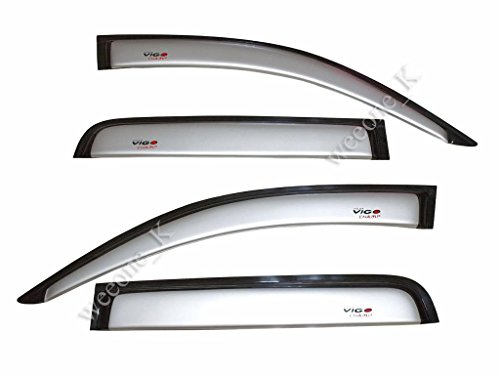Door Weather Guard Rain Visor Sun Windshield Silver Metallic (1C0) For Toyota Hilux Pickup Mk7 Vigo Champ 2012 2013 2014 (Champ Visor)