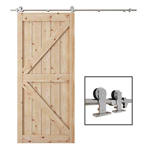 TCBunny 6.7ft Modern Stainless Steel Interior Sliding Barn Door Hardware Kit Track Set, Stainless Steel