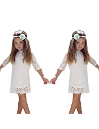 Oldeagle Baby Girls Winter Fashion White Cotton Lace Solid Princess Party Dress