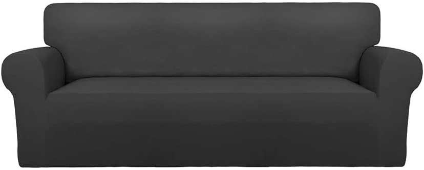 PureFit Super Stretch Chair Sofa Slipcover – Spandex Non Slip Soft Couch Sofa Cover, Washable Furniture Protector with Non Skid Foam and Elastic Bottom for Kids, Pets (Oversized Sofa, Dark Gray)