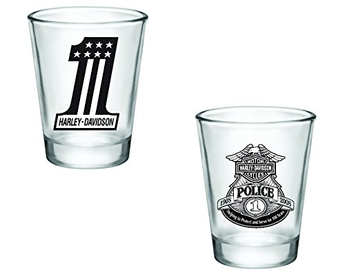 Gift Pack - Harley Davidson Number 1 and Police Shot Glasses - Set of 2 (2oz) - Great Gift Idea