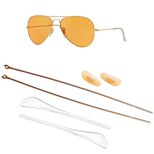 HEYDEFOHEYDEFO Replacement Temple Arms Nose Pads Temple Tips Repair Kit for Ray-Ban Aviator RB3025 3025 Sunglasses (Gold)