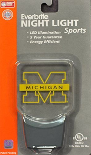 Authentic Street Signs 2-Pack NCAA Officially Licensed, LED Night Light, Super Energy Efficient-Prime Power Saving 0.5 watt,Great Sports Fan Gift for Adults-Babies-Kids (Michigan Wolverines) ()
