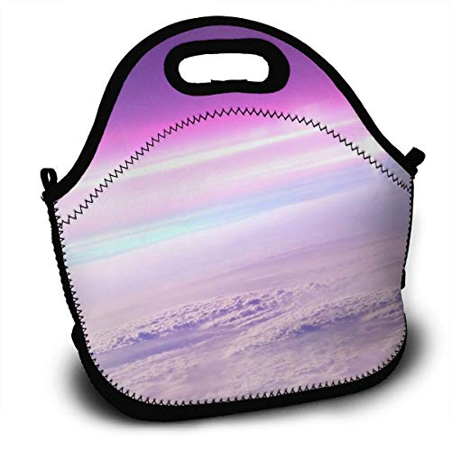 Dejup Lunch Bag Purple Aurora Tote Reusable Insulated Lunchbox, Shoulder Strap with Zipper for Kids, Boys, Girls, Women and Men -