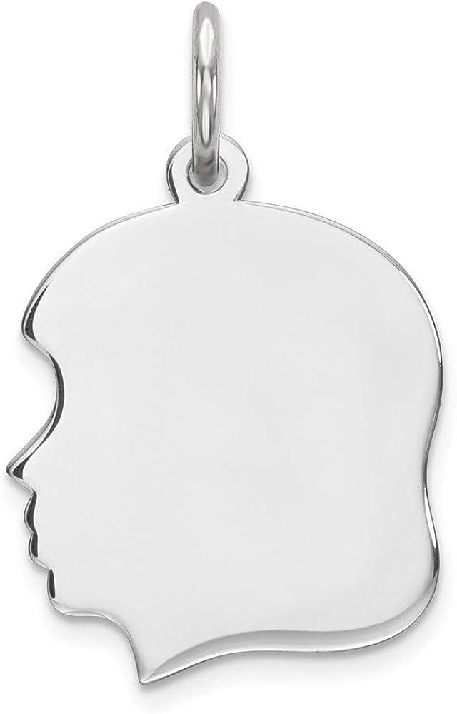 Sterling Silver Polished Flat back Engravable Engraveable Girl Disc Charm