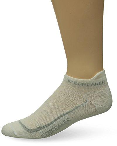 Icebreaker Merino Men's Run+ Ultra Light Micro Socks, White/Silver/White Socks, Medium