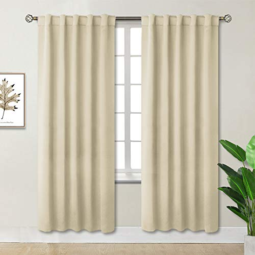 (BGment Rod Pocket and Back Tab Blackout Curtains for Bedroom - Thermal Insulated Room Darkening Curtains for Living Room, 2 Window Curtain Panels (42 x 84 Inch, Beige))