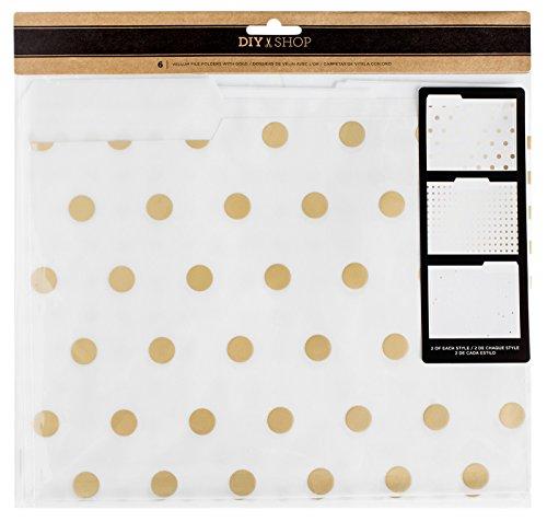 American Crafts 370895 Motion DIY 3 Gold Foil Vellum File Folders 6 Piece