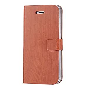 JJEWood Grain Solid Color PU Leather Full Body Case with Stand for iPhone 5/5S (Assorted Colors) , Orange