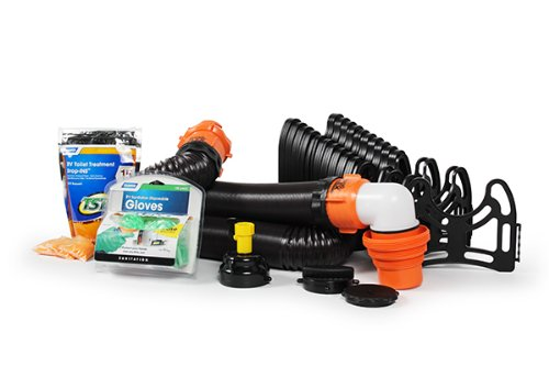 Camco RV Sanitation Kit for Your Holding Tank System - Includes RhinoFLEX Sewer Hose with Fittings, Leak Proof seals, Storage Caps, Sanitation Gloves and TST Drop Ins to Eliminate Holding Tank Odors (44732) by Camco