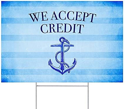 CGSignLab 18x12 We Accept Credit Nautical Stripes Double-Sided Weather-Resistant Yard Sign