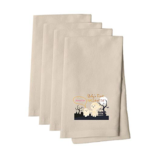 Personalized Custom Text Baby's First Halloween Mummy Cotton Canvas Dinner Napkin Set of 4 Cloth Napkin Set Natural One -