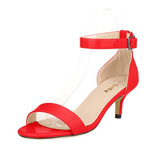 Heel Low Patent Leather - ZriEy Women Sexy Open Toe Ankle Straps Low Heel Sandals Red Size 9