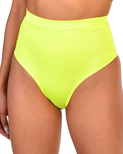 (iHeartRaves Ultra Hi-Rise Booty Shorts (Neon Yellow, 2X))