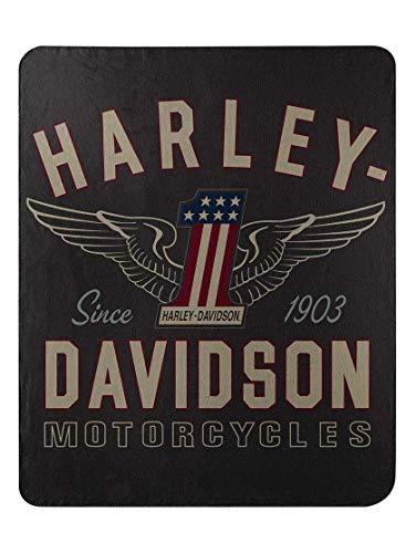 The Northwest Company Harley-Davidson All-American #1 Fleece Throw Blanket, 50 x 60 inch ()